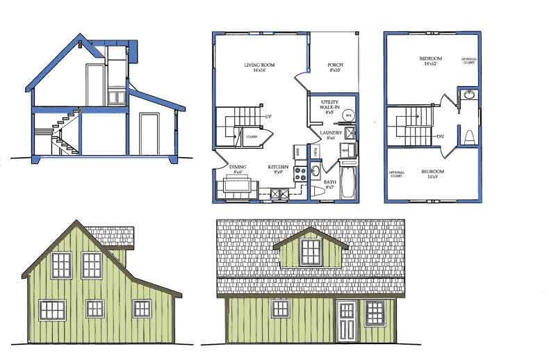 Carriage house plans small house floor plan for 2 bedroom tiny house